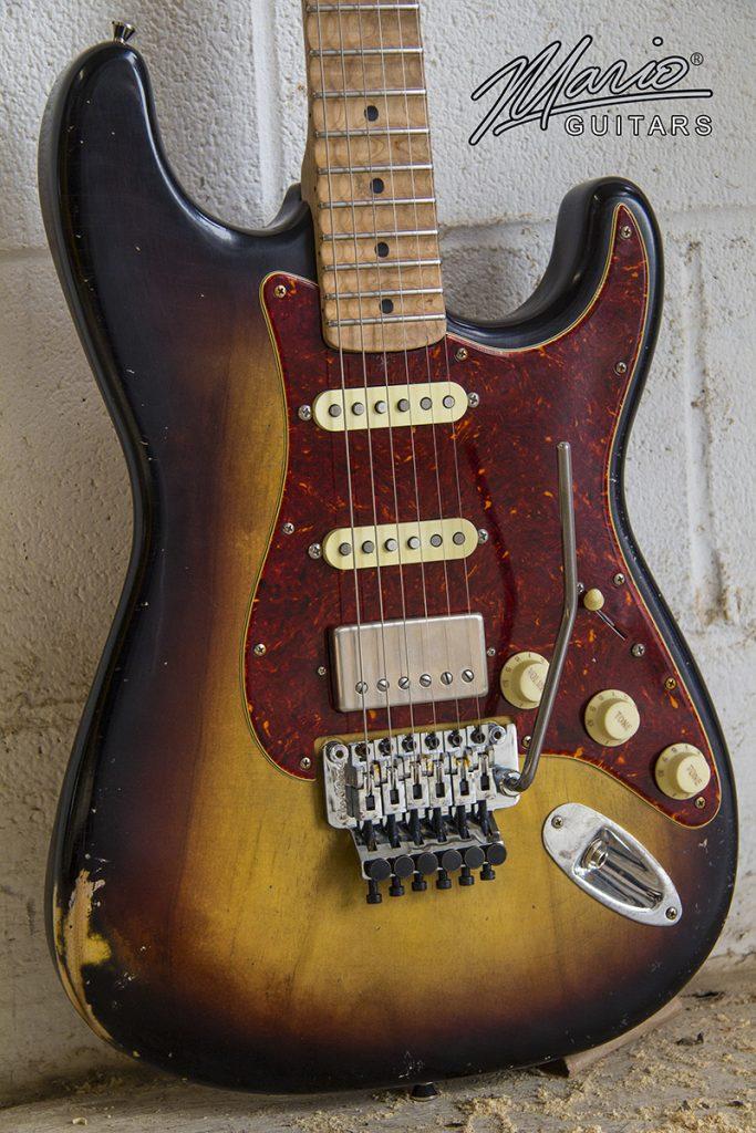 Mario Martin Mario Guitar 3 tone burst S w scalloped fingerboard and Floyd Rose (2)