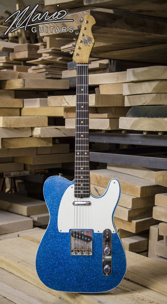 Mario Martin Mario Guitars T style Blue Flake finish double bound
