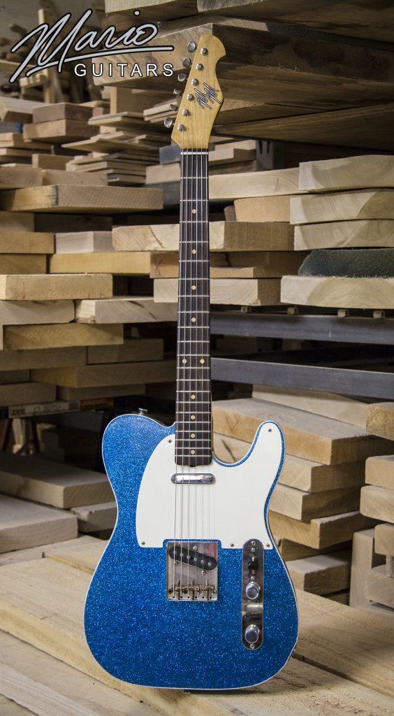Mario Martin Mario Guitars T style Blue Flake finish double bound