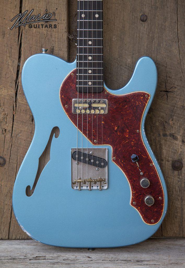 Mario Martin Martio Guitars Pelham Blue Goldfoil Thinline T Hollow 2.